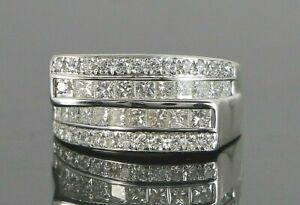 $4,850 14K White Gold 1.50ct Round Princess Cut Diamond Cocktail Ring Band 6.5