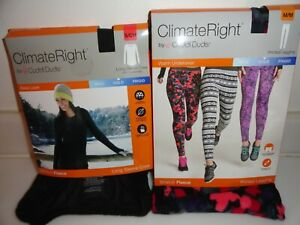 2 NEW CUDDL DUDS Climate Right Womens Stretch Fleece Warm PJ's 2 Pc Small & Med