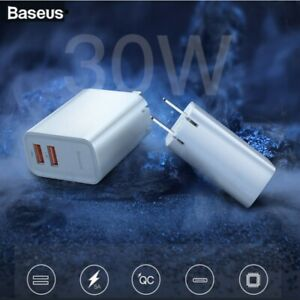 BASEUS Speed Series 30W QC Dual USB Fast Wall Charger For Samsung Huawei Xiaomi