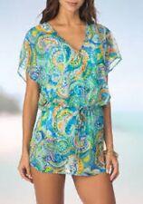 NWT Ralph Lauren Cover up Sheer Tunic Dress Size M Blue Mesh  Adj. Waist