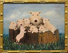 Piglet Family Original Oil on Canvas by Bobby Livingston Broadway Producer
