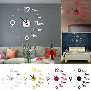 New Modern DIY Sticker Large Wall Clock 3D Mirror Surface Home Office Room Decor
