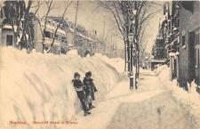 MONTREAL CANADA MANSFIELD STREET IN WINTER CHILDREN POSTCARD 1912