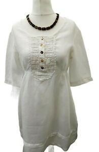 Maella Tunic top Pure Linen womens Large White Button blouse peasant 3/4 sleeve