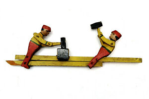 Vintage Whirligig wooden Blacksmith or Mine Workers 2 Men with Hammers FOLK ART