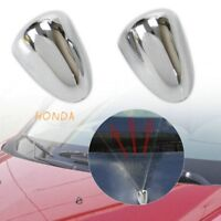 2*Chrome Windscreen Washer Jet Cover Water Spray Nozzle Cover Case Protector #IN