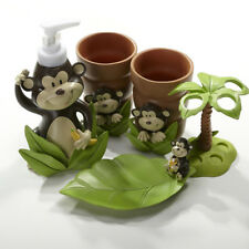 Monkey 5-Piece Resin Bathroom Accessory Toothbrush Holder Soap Dish Tumbler Set