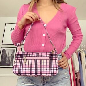 Baby Pink Plaid Check y2k 90s Shoulder Bag