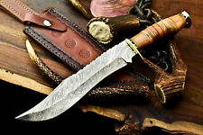 Rare!!! Custom Handmade Damascus Blade Hunting Bowie Knife | Stacked Leather