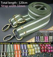 1x Stripe crossbody webbing shoulder strap Replacement Cotton Canvas bag/handbag