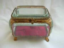 ANTIQUE FRENCH GILT BRASS BEVELED GLASS JEWEL BOX,LATE 19th CENTURY