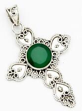 Green Onyx Gemstone Cross Pendant Solid 925 Sterling Silver Jewelry IP25213