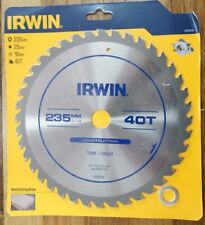 Irwin Construction Wood Circular Saw Blade 235mm (9-1/4 Inch) 40 Teeth