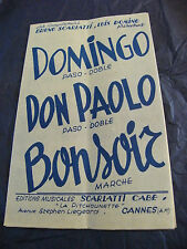 Partition Domingo Don Paolo Bonsoir Scarlatti Domino 1955 Music Sheet