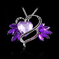 Handmade Women's Heart Wing Crystal Pandent Long Sweater Chain Necklace Jewelry