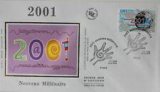 ENVELOPPE PREMIER JOUR - 9 x 16,5 cm - ANNEE 2000 - 2001 NOUVEAU MILLENAIRE