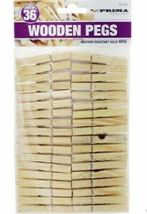 36 Pack Wooden Clothes Pegs Rust Resistant Wood Dry Clips Garden Washing Line