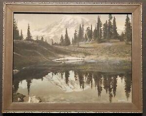 Framed Asahel Curtis 9x12 Hand Tinted Photo, Mt. Rainier from Paradise.1917.