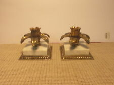 """Vintage Brass & Marble Candle Holder Set 3 1/2"""""""