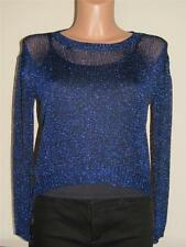 Almost Famous Women's Size M Black & Blues Metallic Sparkle Hi-Low Sweater
