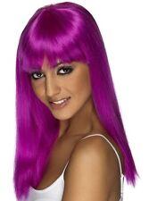 MUJER AÑOS 80 Glamourama Disfraz Peluca con flequillo Púrpura Neón