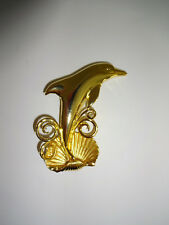Vintage Brooch Jonette Jewelry Jj Gold Tone Dolphin Scarf Pin Clam Shell Waves