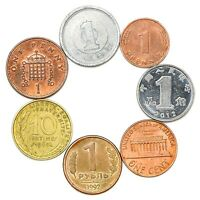 "7 DIFFERENT COINS FROM ""SUPER POWER"" COUNTRIES IN THE 20TH CENTURY. WORLD WAR"