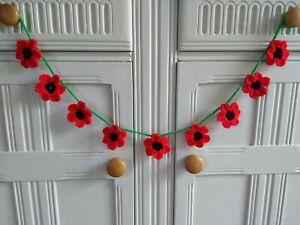 Handmade Crochet Poppy Bunting/Garland - Home Decor/Dresser/Garden Room/ Gift