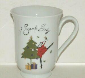 "Pottery Barn Santa Baby Coffee Mug Tea Cocoa ""Presents Under The Tree"" Christmas"