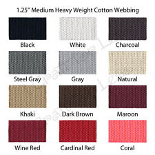 "10 Yards 1.25"" Medium Heavy Weight Cotton Webbing - 43 Colors to Choose"