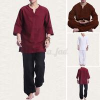 Men Kung Fu 3/4 Sleeve Shirt and Pants Set Chinese Tang Suit Soft Uniform Sets