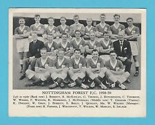FOOTBALL  -  ANONYMOUS  FOOTBALL  TEAM  CARD  -  NOTTS  FOREST  F.C.  -  1958-59