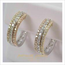 2.40 CT Round Cut VVS1 Diamond New Tri Color Hoop Earrings 14k White Gold Finish