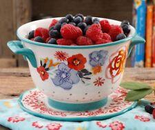 New listing Pioneer Woman Stoneware Flea Market Floral Berry Colander Strainer & Drip Plate