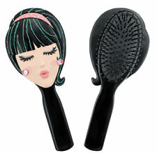 Trendy Girl Doll Face Black Hair Brush - Unique Gift Idea for Her