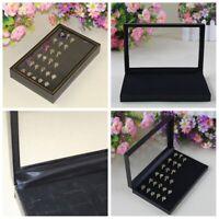 Velvet Glass Jewelry Ring Display Tray Holder Earring Storage Box Organizer Case