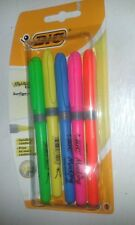 pack of 5 BIC HIGHLIGHTERS NEW ON CARD  UK POST FREE
