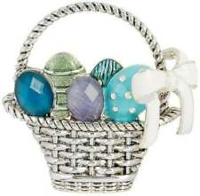 Napier Easter Basket Brooch Pin Silver Tone Jeweled Enameled Eggs Stones