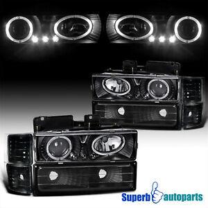 For 1994-1998 Chevy C10 C/K Tahoe Black Bumper Halo Projector Headlights
