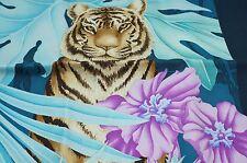 New Salvatore Ferragamo Womens Blue Silk Scarf Leopard Floral Multi Shawl
