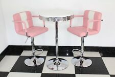 American 50s Diner Furniture Pink Bistro Set Table And 2 Stools With Arms