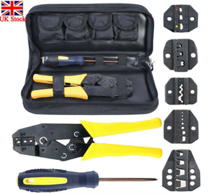 Insulated Cable Connector Terminal Ratchet Crimping Wire Crimper Plier Tool Kit