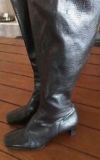 NATURALIZER  Women's Black Uptight Pebbled Knee High Heels Stretch Boots 6 bx70