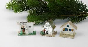 3 Antique Venetian Dew Christmas ornaments Putz cardboard,houses.