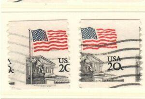 US EFO Scott #1895  20c Flag over Supreme Court Coil pair misperf used!!
