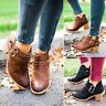 UK Womens Ladies Ankle Boots Low Mid Block Heel Booties Chunky Casual Shoes Size