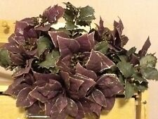 Christmas Wine Colored Poinsettia's Set 3 Vintage Home Interiors Gifts Gtc