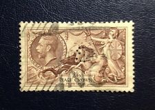 Stamps Great Britain Sc222 (A91) 2sh 6d brn Seahorses crossed lines lght cancel.