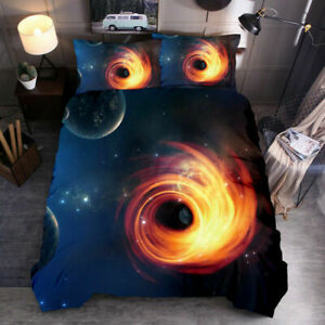 3D Star Black Hole Bedding Cover Set Personality Three Piece Suit