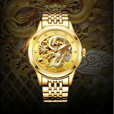 New Mechanical Gold Skeleton Dragon 30M Water Resistant Steel Wrist Watch Gift